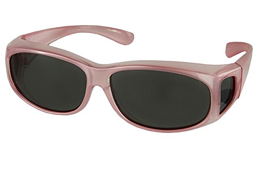LensCovers Sunglasses Wear Over Prescription Glasses Extra Small Pink Polarized