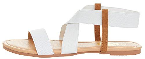 Floopi Womens Summer Flat Sandals Open Toe Elastic Ankle Strap Gladiator Sandal (8, White-501) by Floopi (Image #2)