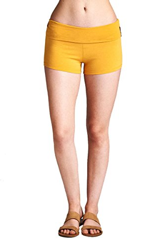 Hollywood Star Fashion Women's Solid Plain Basic Color Yoga Fold Over Waist Shorts Pants Fitness Work Out (Small, Mustard) - Hollywood Waist Pants