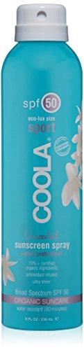 COOLA Organic Suncare, Eco-Lux Size, Unscented Sport Sunscreen Spray, SPF 50, 8 fl. Ounce