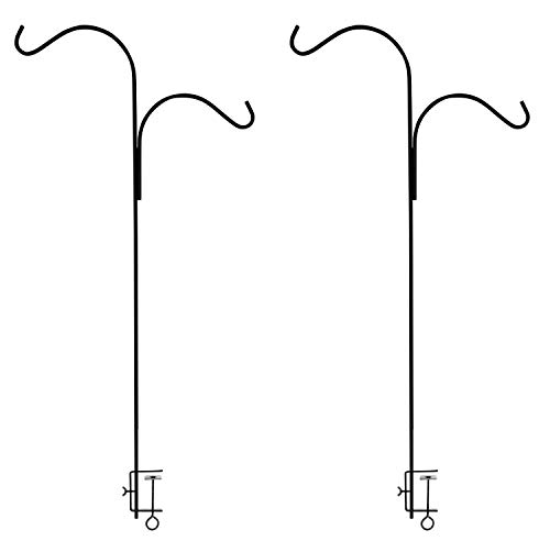 Ashman Double Span Black Deck Hook (2 pack), 46-Inch Length, Super Strong and ideal for Bird Feeders, Plant Hangers, Coconut Shell, Hanging Baskets, Lanterns, Wind Chimes and more! - Double Deck Hook