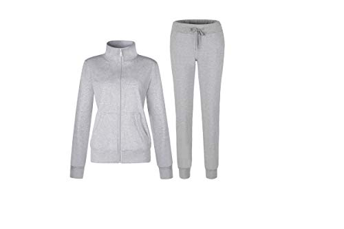 Women's Solid Cotton Sweatsuit Set, 2 Piece Sports Long Sleeve Sweatshirt and Sweatpants Outfit, Active Top and Jogger Long Pants,Running Wear Casual Zip up Jacket Tracksuits (Gray, Medium)