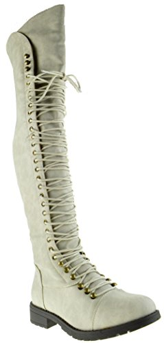 Up Boot Thigh Combat Women High Grey Travis Lace 05 Military wUnIHv