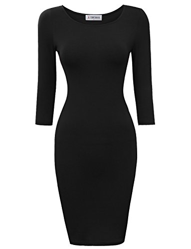 3/4 sleeve black knit dress - 3