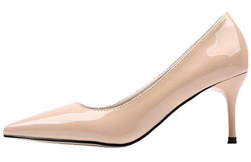 Pure Talons Color Travail De Escarpins Femmes Pointu Slip Beige BIGTREE Fête Chaussures On hauts p46nWwAXq