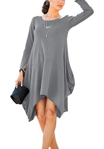 AIK Women's Plain Long Sleeve Pockets Pleated Loose Swing Casual Midi Dress(XL, Grey) ()
