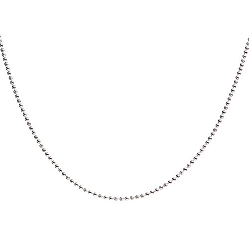 OS Sterling Silver Ball Beaded Necklace 1/1.5/2mm 925 Dog Tag Chain with Spring Ring Clasp 16