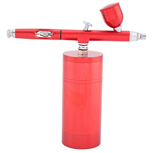 - Multi-Purpose Airbrush Airbrushing System Kit Mini Air Compressor Spray Gun with a 0.3mm Nozzle Tip, 7CC Capacity for Paint Art, Tattoo, Nail Design (Color : Red)