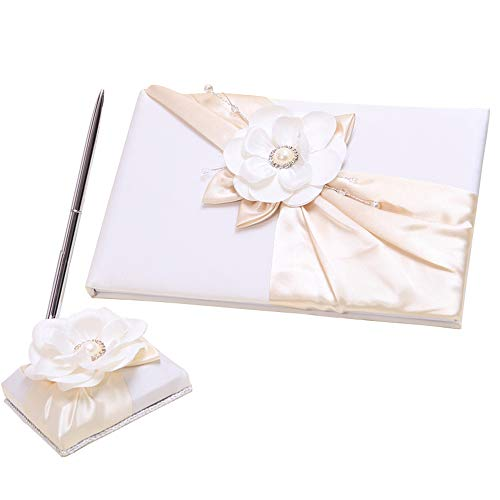 (Wedding Accessories, Ivory Flower Guest Book and Pen Set)