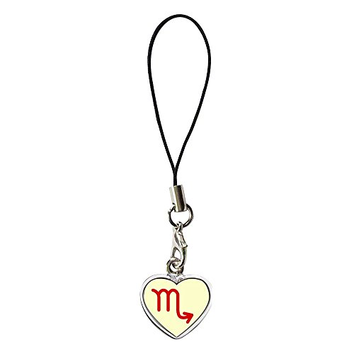 GiftJewelryShop Silver Plated Scorpio Zodiac Charm Photo Dangle Heart Strap Hanging Chain for Phone Cell Phone - Zodiac Charm Plated