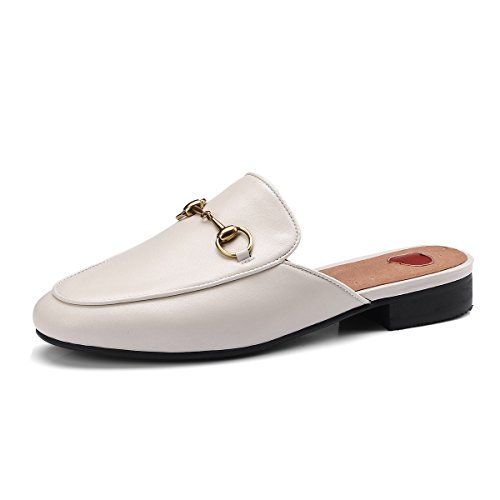 Drag Slippers Comfort Loafers Summer Women's Spring Color 40 Half Flops New Low Leather Flip A Round amp; Heel Size Slippers Flat Toe E4wnndz