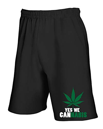 T We shirtshock Tuta Yes Nero Pantaloncini Dec0357 Cannabis ZZrqSp