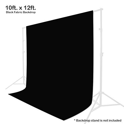 Julius Studio 10 x 12 ft. Black Chromakey Photo Video Studio Fabric Backdrop, Background Screen, Movie, Photography Studio, TEMJSAG476