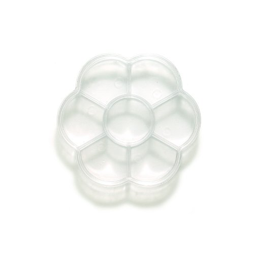 Shipwreck Beads Plastic Bead Storage Flower Shaped Box with 7 Compartments, 4-Inch, Clear, 4-Pack 6FI4412-R