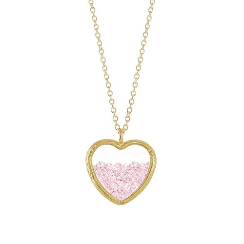 Crystal Heart Shaker Necklace (Gold Plated Pink)
