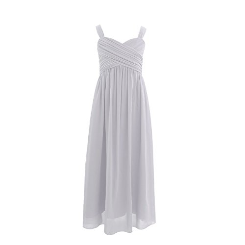 FEESHOW Kids Big Girls Ruched Bust Chiffon Junior Bridesmaid Dress Wedding Party Gown Gray (Chiffon Girls Dresses)