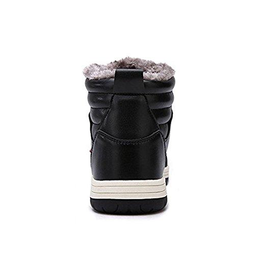Bottines Homme Bottes de Neige Cheville Bottine Doublée Fourrure Chaude Chaussure Hiver Imperméable Botte Sneaker Sport, Noir 48