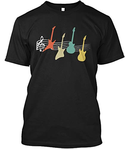 Vintage Guitar t Shirt Electric and acou LT - Black Tshirt - Hanes Tagless Tee (Guitar Electric Acous)