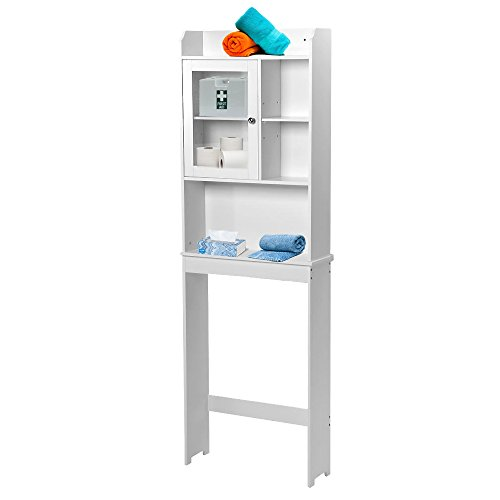 Small Restroom Cabinet White Toilet Cabinet Bathroom Spacesaver Orginzer Storage Shelves Features Two Shelves And Perfect For Storing Towels And Other Bathroom Essentials Dual Doors Conceal by Indipartex