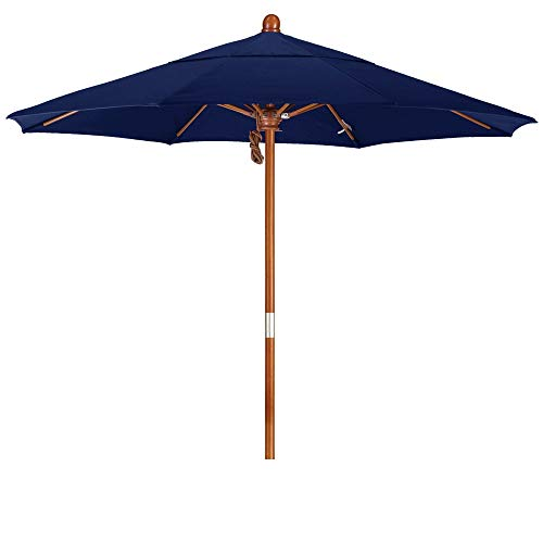 (California Umbrella 7.5' Round Hardwood Frame Market Umbrella, Stainless Steel Hardware, Push Open, Pacifica Navy Blue (Renewed) )
