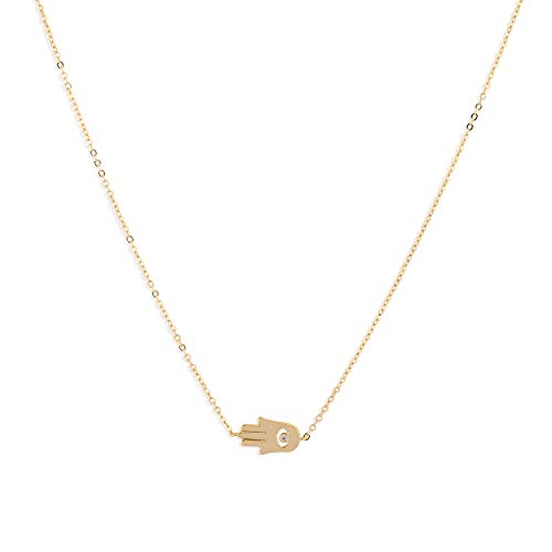 LOYATA Dainty Choker Necklace, 14K Gold Plated Bohemia Sequins Coin Necklace Delicate Chain with CZ Evil Eye Hamsa Hand Necklace for Women