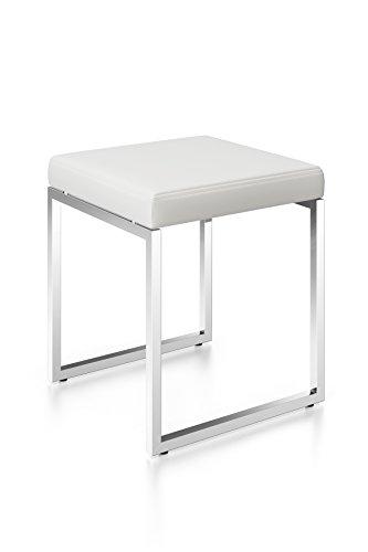 Zack 40334 Original CENIUS Stool White, Leather seat, high Gloss 17.9 x 15.7 x 15.7 in, 17.9