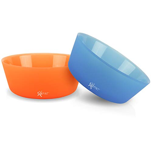 - Silipint Silicone Bowl Set, U.S. Patented, BPA-Free, Unbreakable, Flexible, Microwave Safe, Oven Safe, BBQ Safe, Indoor and Outdoor Use (2-PackBend Blue, Tough Tangerine)