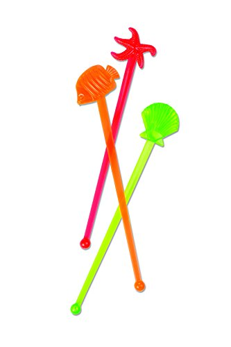 Party Partners 12 Count Seaside Happy Hour Vintage Style Cocktail Stirrers, Multicolor