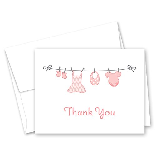 MyExpression.com 50 Cnt Hanging Baby Girl Cloth Baby Thank You Cards -