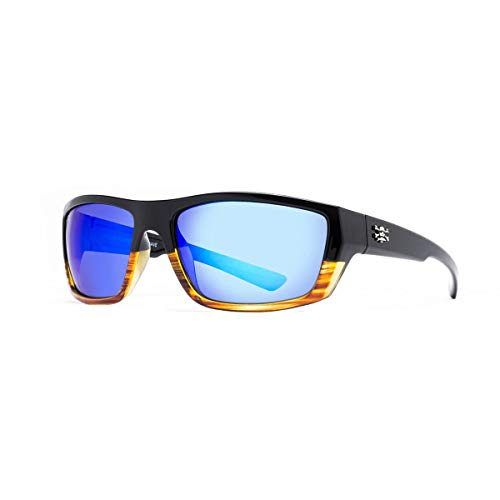 Calcutta Collection - Calcutta Shock Wave Sunglasses (Wood Grain Frame w/ Blue Mirror Lenses)