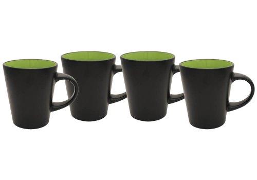 Culver 12-Ounce Noir Duo-Tone Ceramic Mug, Lime Green, Set of 4
