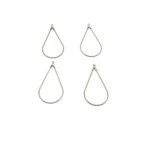 32 Pcs Teardrop Shaped Beading Hoop Earring Finding for Earring Jewelry Making (Gold Silver)