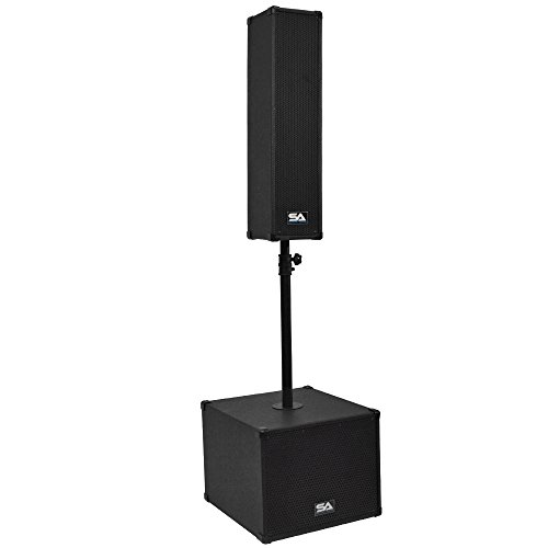 Seismic Audio - SA-CPPA1 - Powered Compact Portable PA System - 4x5 Column Speaker, 12 Inch Subwoofer and Pole - Live Sound, Band DJ