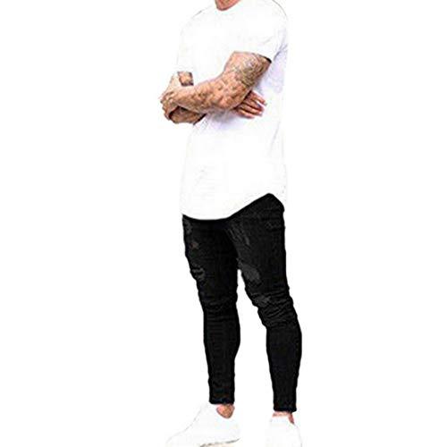 Conception Mode Hommes Déchiré Crayon Noir Jeans Pantalon Streetwear Collant Cheville Ymysfit Détruit pBann7