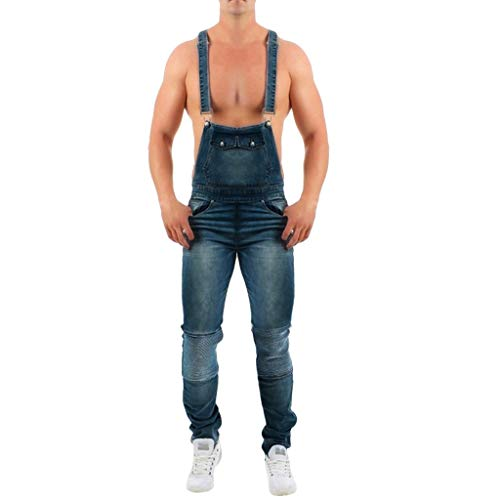 Wadonerful Price!Mens Bib Overall Shorts Denim Casual Loose Fit Jumpsuit Suspender Walkshort Button Jeans Romper