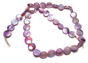 Purple AB Flat Button Mother of Pearls Beads 15