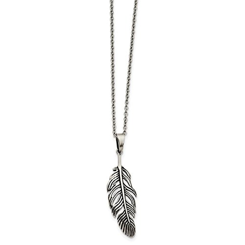 Jewelry Necklaces Necklace with Pendants Stainless Steel Antiqued Feather ()