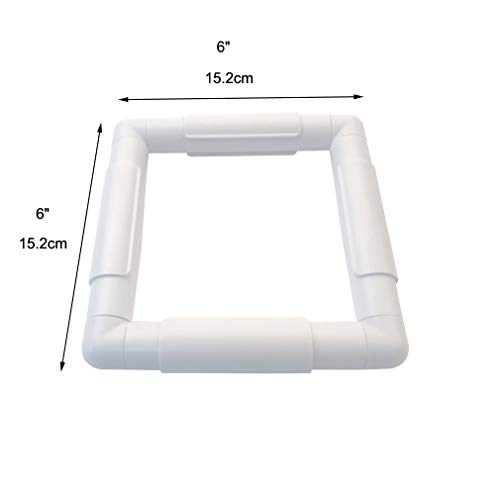 Plastic Cross Stitch Frame Square Embroidery Hoop White DIY Sewing Tools Sewing Hoop Handhold Craft Clip Embroidery Snap Frame Hoop for Cross Stitching Quilting (A: 6 X 6
