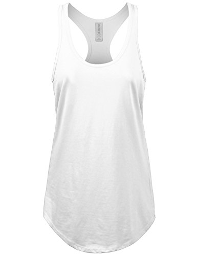 JC DISTRO Women's Basic Jersey Racer-Back White Tank Top (Cotton Jersey Sport Shirt)