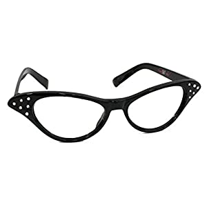 Hip Hop 50s Shop Womens Cat Eye Rhinestone Glasses, Black