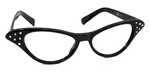 Hip Hop 50s Shop Womens Cat Eye Rhinestone Glasses, Black -