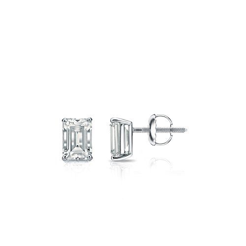 Diamond Wish 14k White Gold Emerald-Cut Diamond Stud Earrings (1/2 carat TW, O.White, SI1-SI2) 4-Prong Basket, Screw-Back