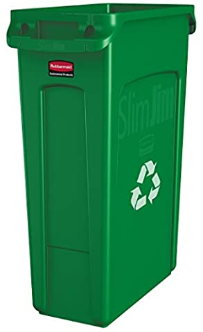 Rubbermaid Commercial Slim Jim Recycling Container with Venting Channels, Plastic, 23 Gallons, Green - Paper Recycling Bin