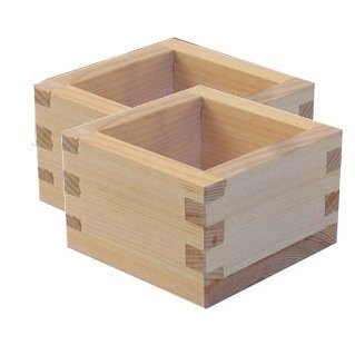 Wooden Sake - M.V. Trading MOMS100S2V Japanese Masu Wooden Square Sake Cups with Plain No Design, 5 Ounces, 3-3/8 Inches (L) x 3-3/8 Inches (W) x 2 Inches (H), Set of 2 Cups