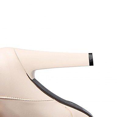 Heart&M Mujer Zapatos Semicuero Primavera Invierno Botas de Moda Botas Tacón Robusto Dedo redondo Botines Hasta el Tobillo Pajarita Para Casual beige