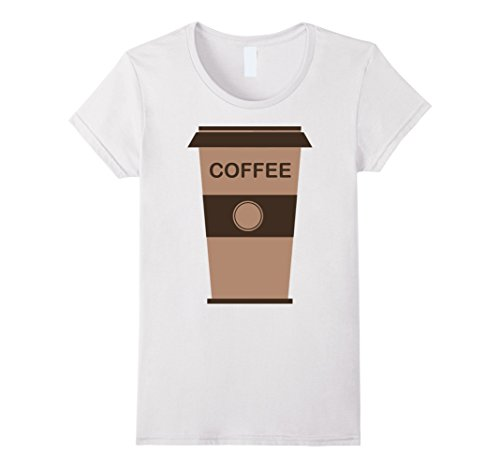 Womens Coffee Cup Costume Shirt Roasted Beans Brewed Drink Beverage Medium White -