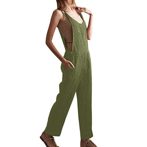 Dunacifa Women V-Neckline Jumpsuit Linen Solid Romper Short Sleeve Casual Pocket Button Jumpsuits ()