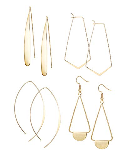FIBO STEEL Curved Threader Dangle Earrings for Women Girls Drop Hoop Bar Statement Earrings Set Gold