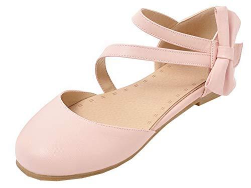 Solid rosa Agoolar Heel Velcro Women tacco Mini Pu scarpe Gmxdb010480 wwzSqfAEx