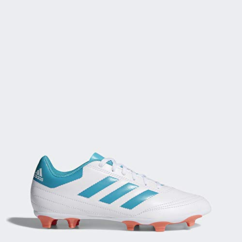 adidas Women's Goletto VI FG W Soccer Shoe, white/energy blue/easy coral, 6.5 M US
